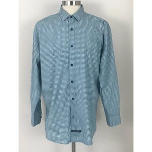 English Laundry Blue Print Long Sleeve Shirt XL